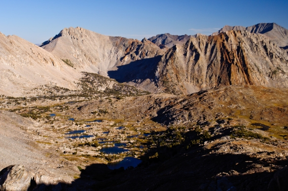 Looking southeast from the top of Pinchot Pass in the lengthening shadows of the setting sun.